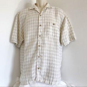 Tommy Bahama Shirt L Plaid Linen Button Front